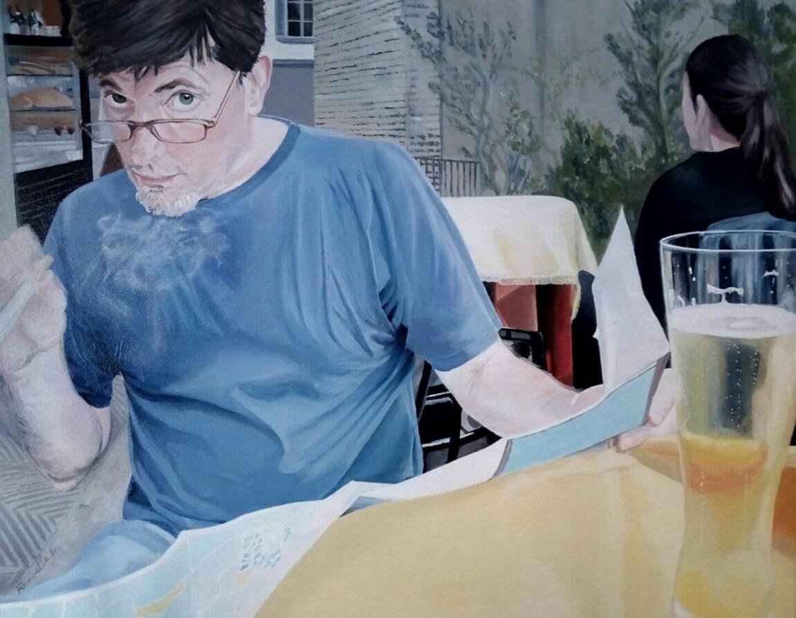 Reflejos en la pared. Exposición de pintura de MarianelaRevuelta.